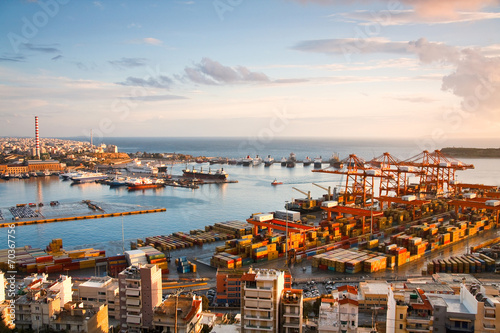 View of container port in Piraeus, Athens. - 70367756