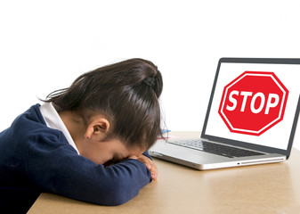 sad school girl crying suffering internet bullying abuse