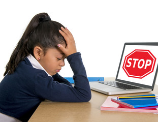 latin school girl crying suffering internet bullying abuse