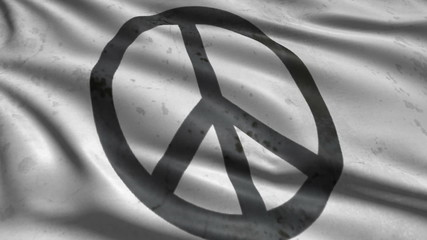 Flag with peace sign with old, grunge fabric structure; looping