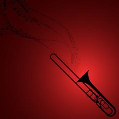 Trombone with Musical Symbols