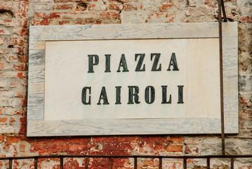 Targa Indicazione Piazza Cairoli, Pisa