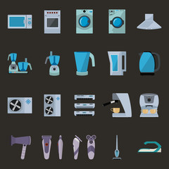 Set of household appliances flat icons with microwave, gas