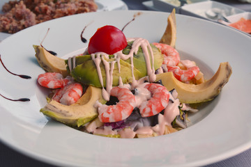 Mixed Salad With Cooked Shrimp And Avocado