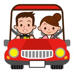ドライブデートする若いカップル