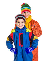 Two kids in winter sport clothing