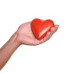 Hand hält ein rotes Herz
