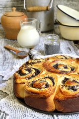 Yeast cake with poppy seed and cottage cheese.
