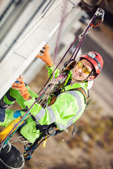Industrial climber during insulation works