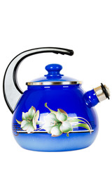Blue, metal kettle on a white background