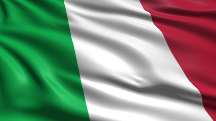 flag of Italy with fabric structure; looping