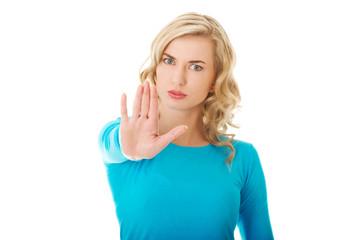 Woman expressing NO