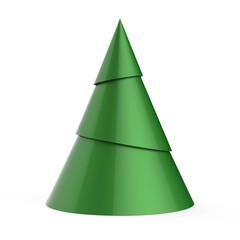 Green stylized Christmas tree isolated on white background