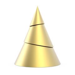 Gold stylized Christmas tree isolated on white background