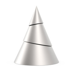 Silver stylized Christmas tree isolated on white background