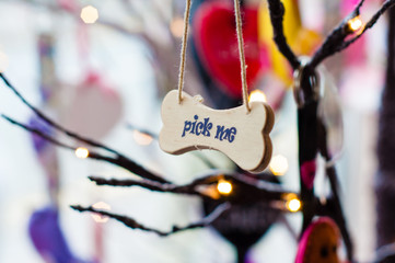 Pick me message on small wood board, vintage concept