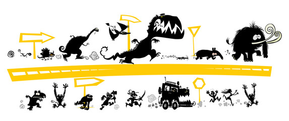 Running  Silhouettes on the Evolution scale with road signs.