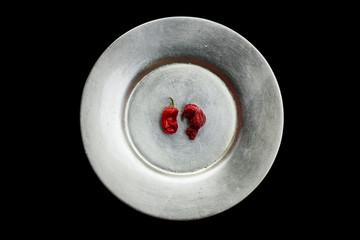 Red peperoncini still life.
