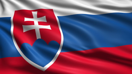 flag of Slovakia with fabric structure; looping
