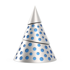 Silver stylized Christmas tree with blue decoration