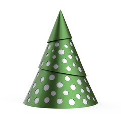 Green stylized Christmas tree with silver decoration