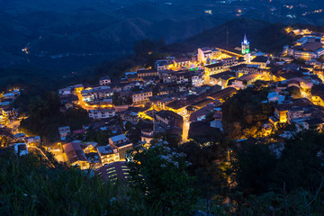 High view of the small town of Zaruma at nightime