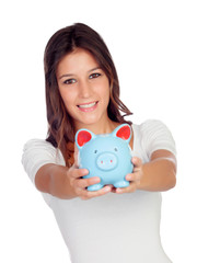 Attractive casual girl with a blue moneybox