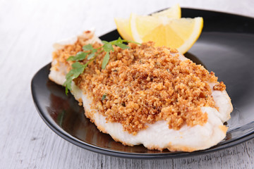 fish fillet cooked with crumb