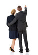 canvas print picture - Successful business couple pointing away