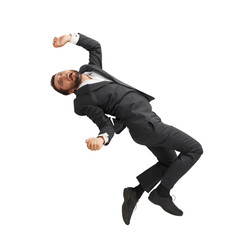 frightened businessman falling down