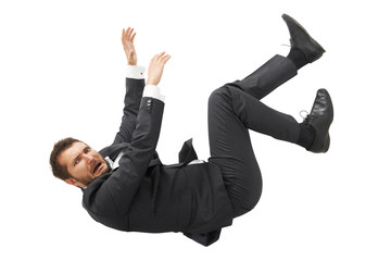 man falling down and screaming