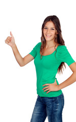 Attractive casual girl in green saying Ok