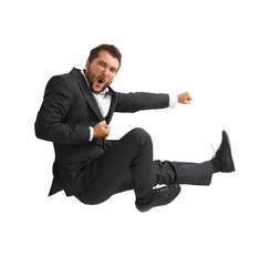 man kicking as karate