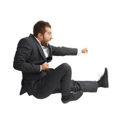 screaming man kicking as karate