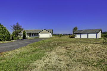 Countryside house exterior with landscape. Washington real estat