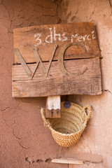 The sign for toilet in Morocco in Ait-ben-Haddou