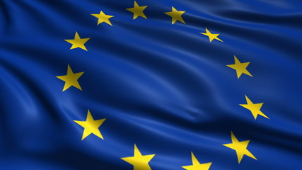 flag of the European Union with fabric structure; looping