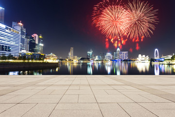 firework and night view of prosperous city