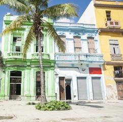 Havana buildings, colonial style street scene.