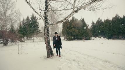 Style Man Stading Near Tree