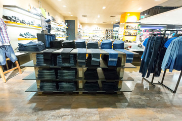 jeans display in the fashion store