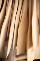 Many wood kitchen utensils