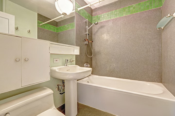 Bathroom with grey wall and green tile trim