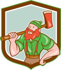 Paul Bunyan LumberJack Shield Cartoon