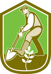 Gardener Landscaper Digging Shovel Cartoon