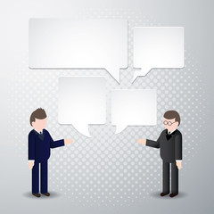 Two Businessman talk with speech bubble icon.