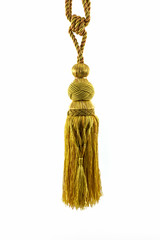 Golden curtain tassel interior decoration.