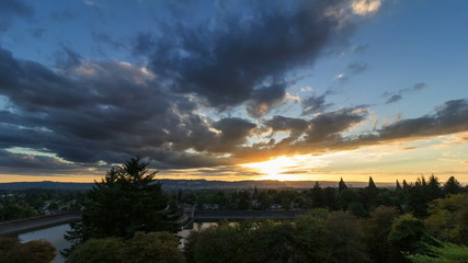 Time Lapse of Sunset with Dark Clouds in Portland Oregon