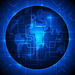 Blue abstract technology background with world map.
