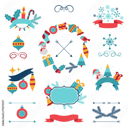 Merry Christmas and Happy New Year banners, decorations. - 70375357